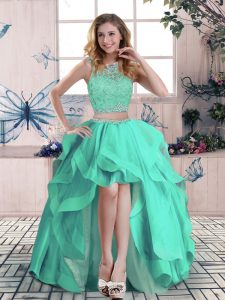 Turquoise Two Pieces Beading and Lace and Ruffles Prom Dresses Zipper Tulle Sleeveless High Low