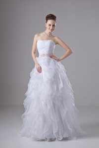 Attractive Floor Length White Wedding Dresses Organza Sleeveless Beading and Ruffles