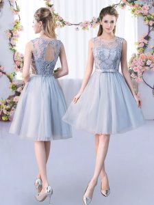 Tulle Scoop Sleeveless Lace Up Lace and Belt Court Dresses for Sweet 16 in Grey