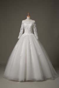 Pretty Scoop 3 4 Length Sleeve Tulle Bridal Gown Beading and Lace Brush Train Lace Up
