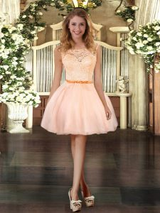 Clearance Peach Organza Zipper Scoop Sleeveless Mini Length Homecoming Dress Lace
