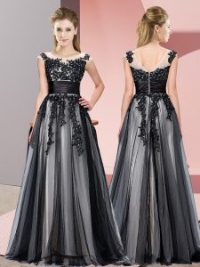 Scoop Sleeveless Quinceanera Court of Honor Dress Floor Length Beading and Lace Black Tulle