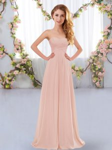 Ideal Sweetheart Sleeveless Chiffon Bridesmaids Dress Ruching Lace Up