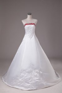 White Satin Lace Up Strapless Sleeveless Wedding Dresses Brush Train Beading and Embroidery