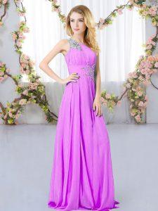 Chiffon Sleeveless Floor Length Quinceanera Dama Dress and Beading