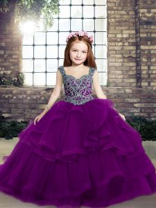 Tulle Sleeveless Floor Length Little Girls Pageant Dress Wholesale and Beading