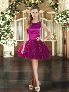 Dramatic Mini Length Fuchsia Prom Evening Gown Scoop Sleeveless Lace Up