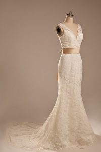 Super V-neck Sleeveless Wedding Gown Brush Train Lace and Belt White Lace