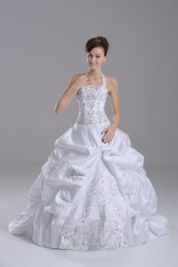Inexpensive White Wedding Gown Halter Top Sleeveless Brush Train Lace Up