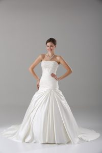 Best Selling White A-line Strapless Sleeveless Taffeta Brush Train Lace Up Beading Wedding Gowns