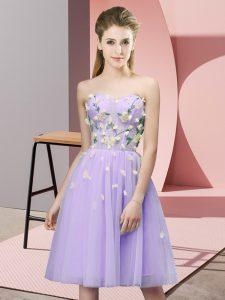 Sweetheart Sleeveless Lace Up Dama Dress Lavender Tulle