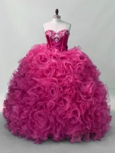 Floor Length Hot Pink Quinceanera Dress Sweetheart Sleeveless Lace Up