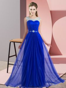 Beautiful Royal Blue Empire Beading Bridesmaid Dresses Lace Up Chiffon Sleeveless Floor Length