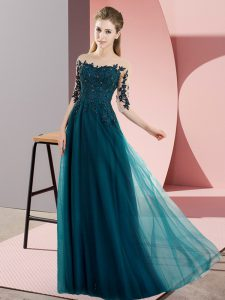 Dramatic Floor Length Peacock Green Wedding Guest Dresses Chiffon Half Sleeves Beading and Lace