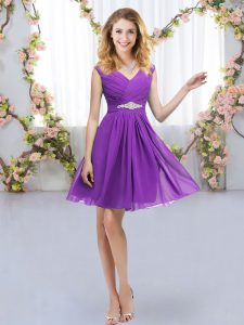 Designer Mini Length Empire Sleeveless Eggplant Purple Damas Dress Zipper
