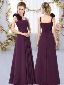 Customized Straps Sleeveless Lace Up Wedding Guest Dresses Dark Purple Chiffon