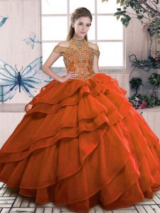 Delicate Orange Sleeveless Beading and Ruffled Layers Floor Length Ball Gown Prom Dress