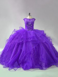 Purple Ball Gowns Scoop Sleeveless Organza Brush Train Lace Up Beading and Ruffles Quinceanera Gowns