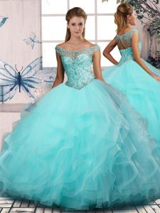 Low Price Tulle Sleeveless Floor Length 15 Quinceanera Dress and Beading and Ruffles