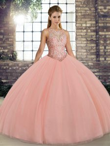 Wonderful Tulle Sleeveless Floor Length 15 Quinceanera Dress and Embroidery