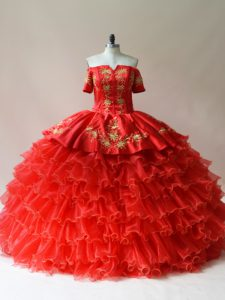 Red Lace Up 15 Quinceanera Dress Embroidery and Ruffled Layers Sleeveless Floor Length
