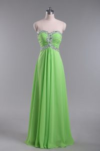 Empire Chiffon Sweetheart Sleeveless Beading and Ruching Floor Length Zipper Evening Dress