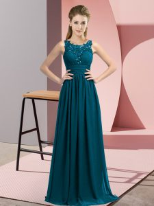 Fine Teal Scoop Neckline Beading and Appliques Wedding Guest Dresses Sleeveless Zipper