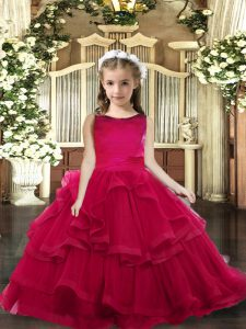 Sleeveless Tulle Floor Length Lace Up Pageant Gowns For Girls in Red with Ruffled Layers