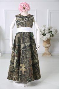 Printed Sleeveless Floor Length Flower Girl Dress and Belt