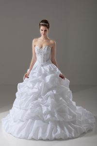 Fantastic Sleeveless Taffeta Brush Train Lace Up Bridal Gown in White with Beading and Pick Ups