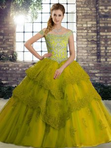 Lovely Olive Green 15th Birthday Dress Tulle Brush Train Sleeveless Beading and Lace