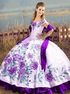 Off The Shoulder Sleeveless Satin Quinceanera Gowns Embroidery and Ruffles Lace Up