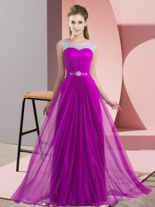 Elegant Floor Length Empire Sleeveless Purple Vestidos de Damas Lace Up