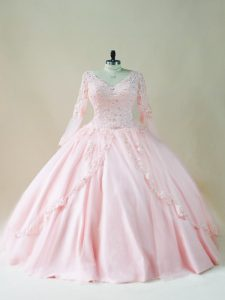Floor Length Lace Up Vestidos de Quinceanera Baby Pink for Sweet 16 and Quinceanera with Beading and Appliques