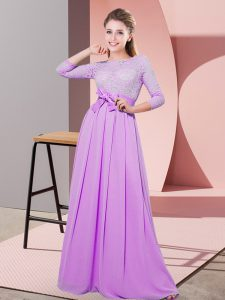 Floor Length Lilac Dama Dress for Quinceanera Chiffon 3 4 Length Sleeve Lace and Belt