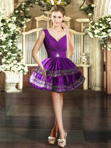 Charming Purple Ball Gowns Embroidery Homecoming Dress Backless Taffeta Sleeveless Mini Length