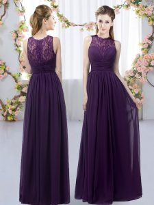 Dramatic Sleeveless Floor Length Lace Zipper Dama Dress for Quinceanera with Dark Purple