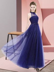 Dazzling Floor Length Lace Up Dama Dress for Quinceanera Purple for Wedding Party with Beading and Appliques