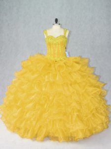 Gold Organza Lace Up Straps Sleeveless Floor Length Sweet 16 Dresses Beading and Ruffles