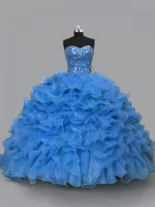 Blue Organza Lace Up Quince Ball Gowns Sleeveless Floor Length Beading and Ruffles