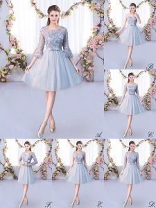 Grey Tulle Lace Up Scoop 3 4 Length Sleeve Knee Length Quinceanera Dama Dress Lace and Belt