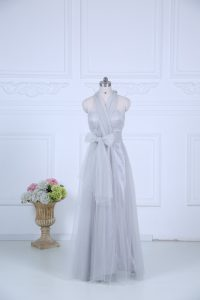 Grey Empire Tulle Halter Top Sleeveless Ruching Floor Length Zipper Dama Dress for Quinceanera
