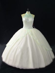 Traditional Sleeveless Floor Length Beading Lace Up Quinceanera Gown with White