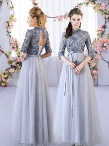 Superior Half Sleeves Tulle Floor Length Lace Up Wedding Party Dress in Grey with Appliques