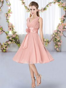 Hand Made Flower Quinceanera Court Dresses Pink Lace Up Sleeveless Knee Length