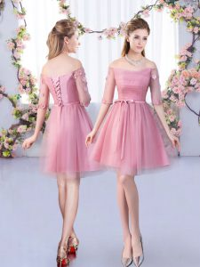 Fashion Pink A-line Tulle Off The Shoulder Half Sleeves Lace and Belt Mini Length Lace Up Quinceanera Court Dresses