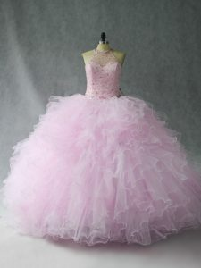 Ball Gowns Sweet 16 Quinceanera Dress Lilac Halter Top Tulle Sleeveless Floor Length Lace Up