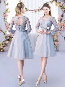 Latest Grey Long Sleeves Tulle Lace Up Damas Dress for Wedding Party