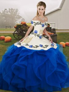 Nice Floor Length Royal Blue 15th Birthday Dress Tulle Sleeveless Embroidery and Ruffles