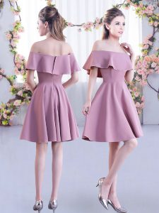 Elegant Chiffon Short Sleeves Mini Length Vestidos de Damas and Ruching